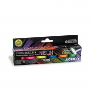 Kit Tinta Acrílica Neon Nature Colors 10ml com 6 Unidades Acrilex
