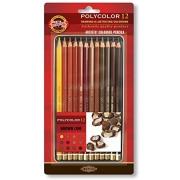 Lápis de Cor Artístico Polycolor 12 Tons de marrom Koh-I-Noor 3822