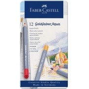 Lápis Aquarelavel Goldfaber Aqua Faber-Castell Estojo Metálico com 12 cores - Ref 114612