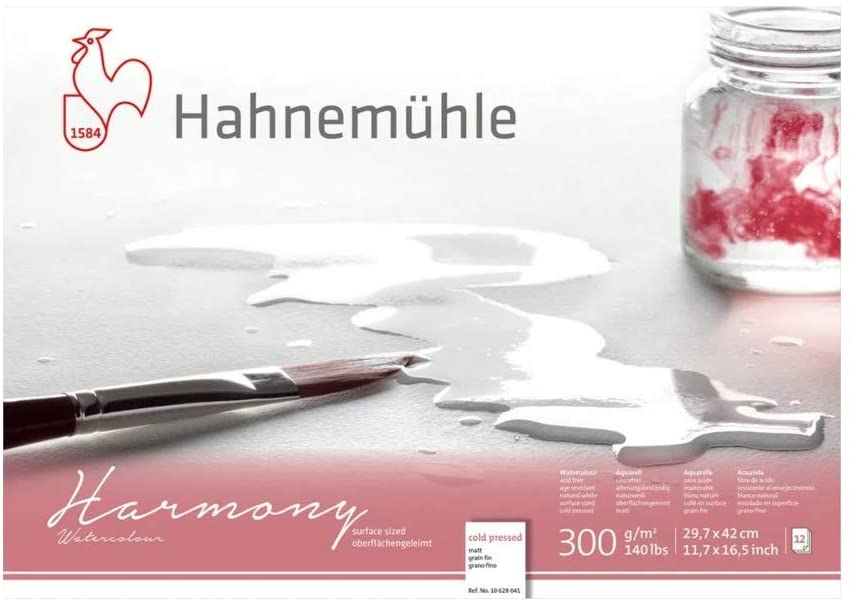 Bloco Aquarela Harmony 300 g/m² A3 textura fina 29,7 x 42 cm com 12 fls. Hahnemuhle