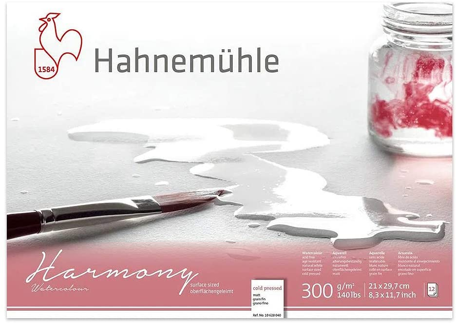 Bloco Aquarela Harmony 300 g/m² A4 textura fina 21 x 29,7 cm com 12 fls. Hahnemuhle