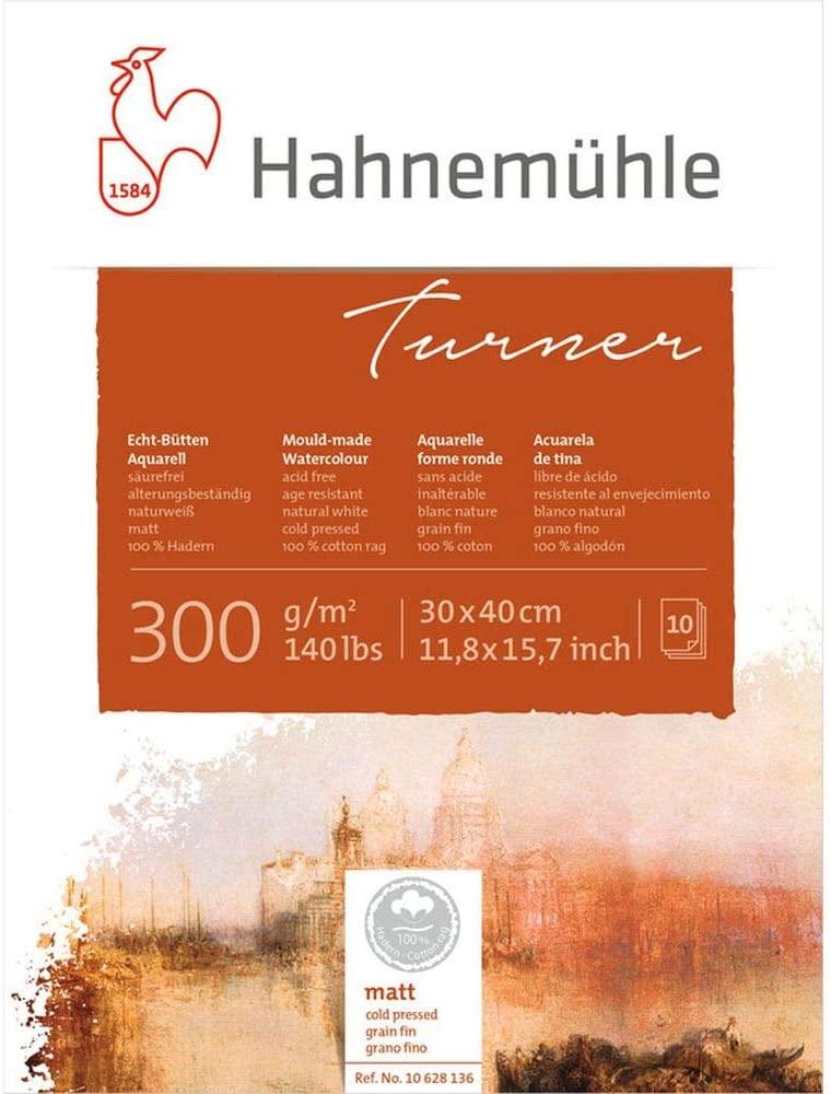 Bloco Aquarela William Turner 300 g/m² textura fina 30 x 40 cm com 10 fls. Hahnemuhle - 100% ALGODÃO