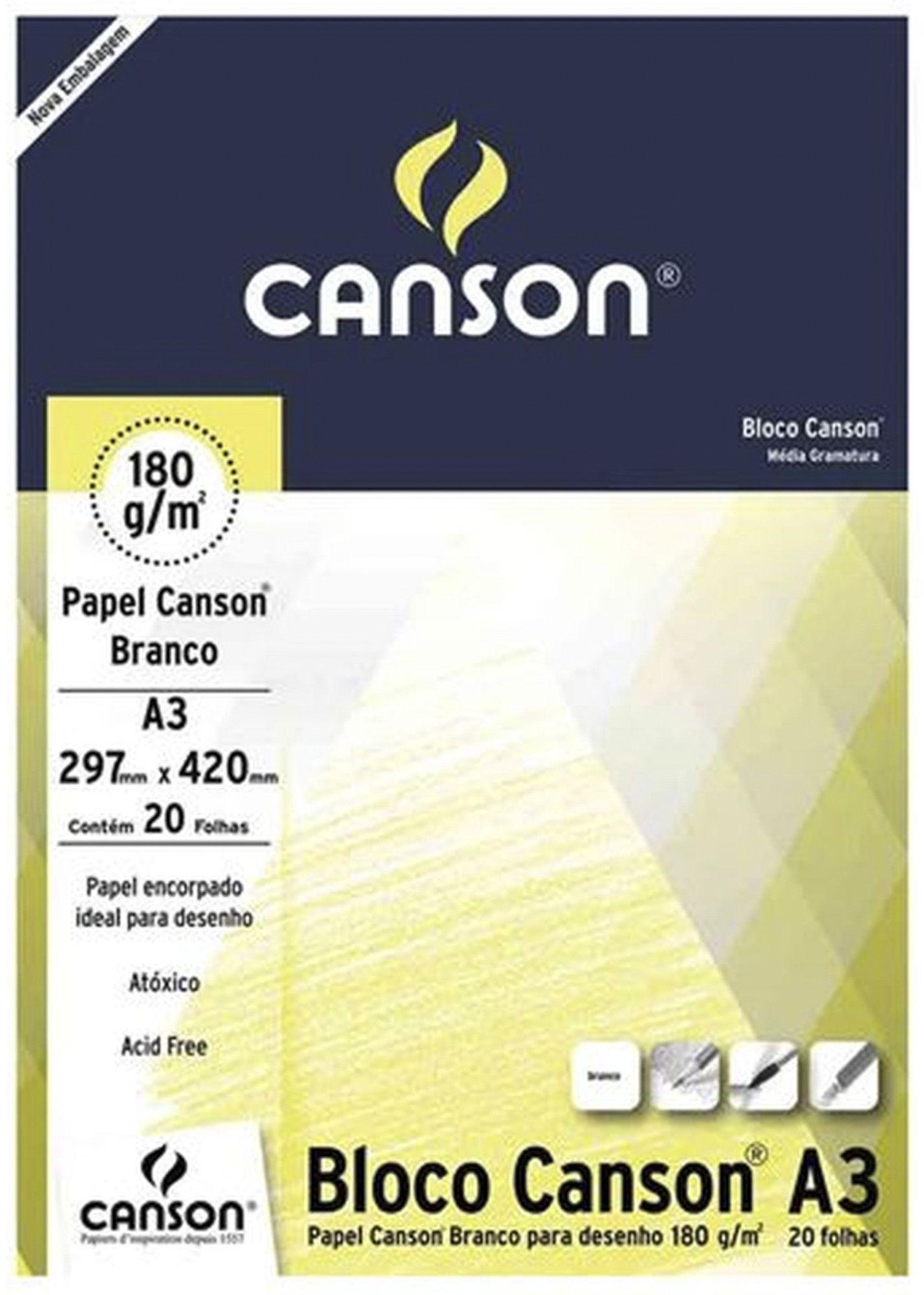 Bloco Canson Desenho Branco 180g/m² A3 297 x 420 mm com 20 Folhas