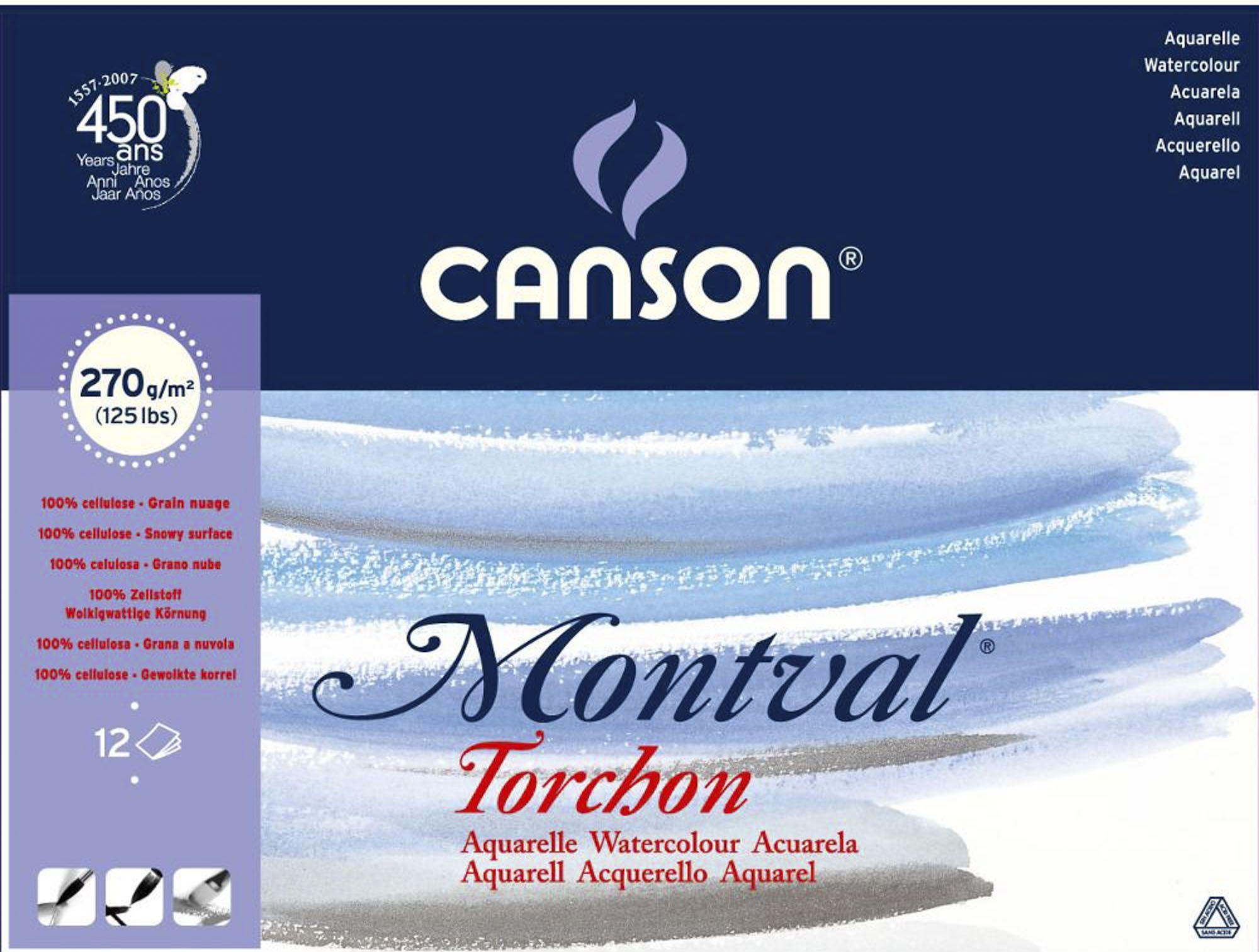 Bloco Canson Montval Textura Rugosa para Aquarela 270g/m² A4 24x32 cm com 12 Folhas