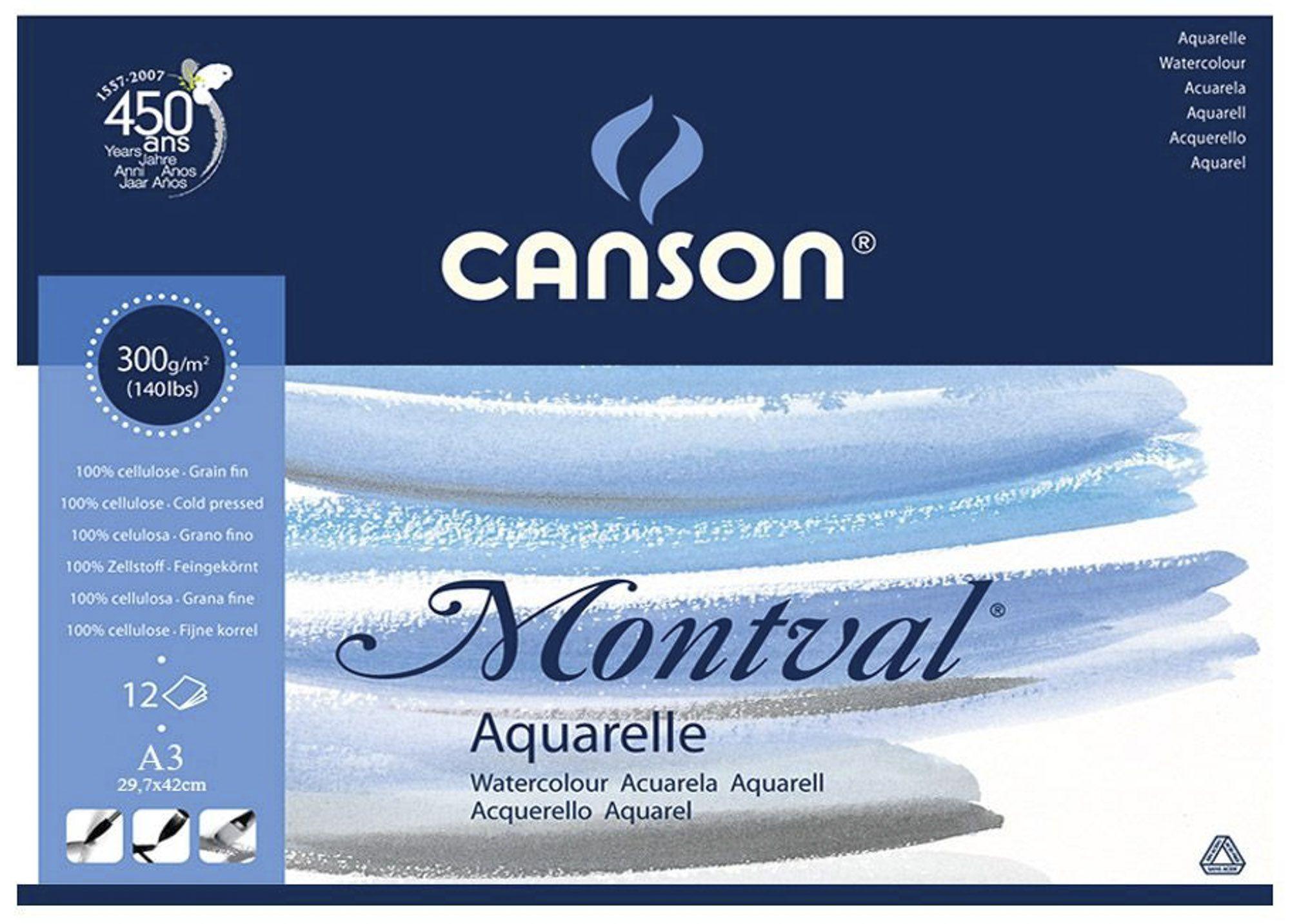 Bloco de Papel Aquarela Canson - Montval Textura Fina 300g/m² A3 29,7x42 cm com 12 Folhas