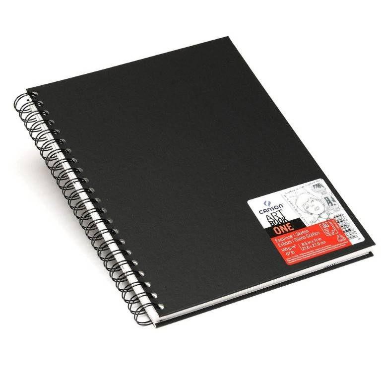 Caderneta Espiralada para Esboço Canson – Art Book One Preto A4 21,6cm x 27,9cm 100 g/m²