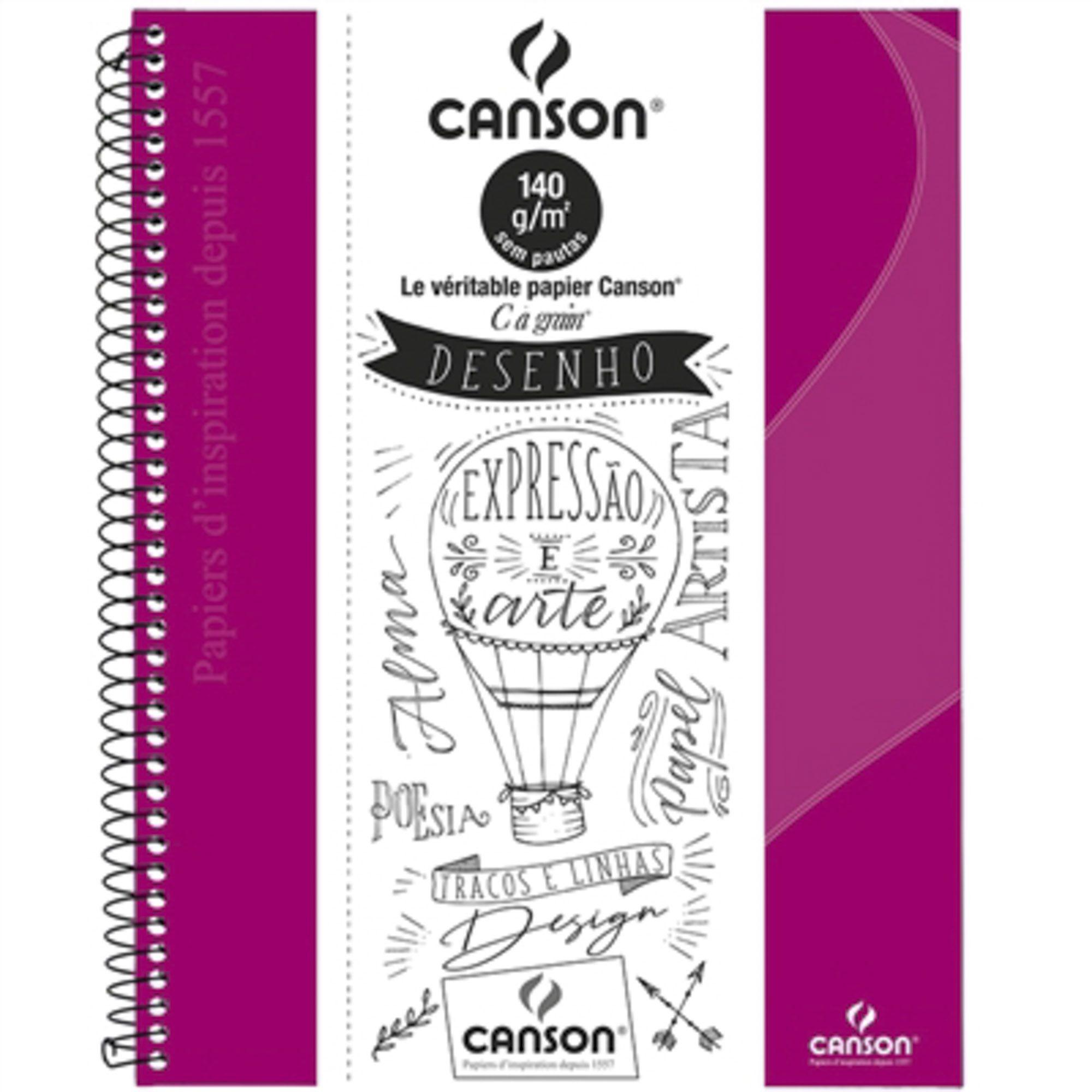 Caderno Desenho Canson Expressão e Arte Espiral Capa Dura 140 g A4 40 Fls