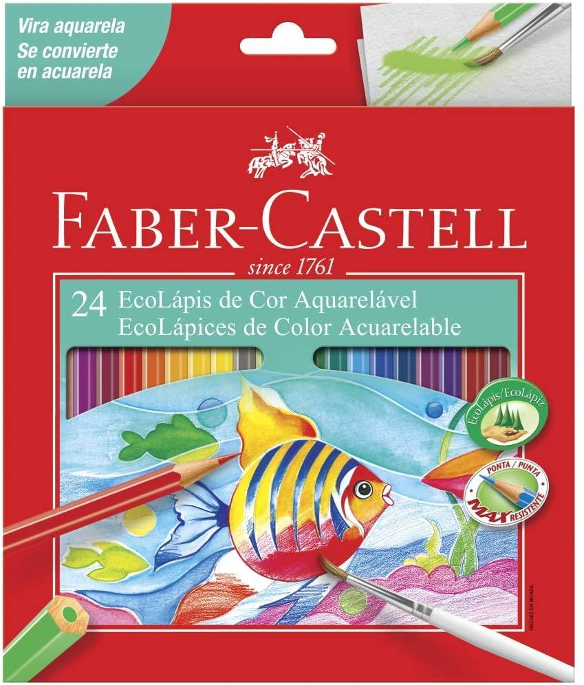 EcoLápis de Cor Aquarelável Estojo com 24 Cores - Ref 120224 - Faber-Castell
