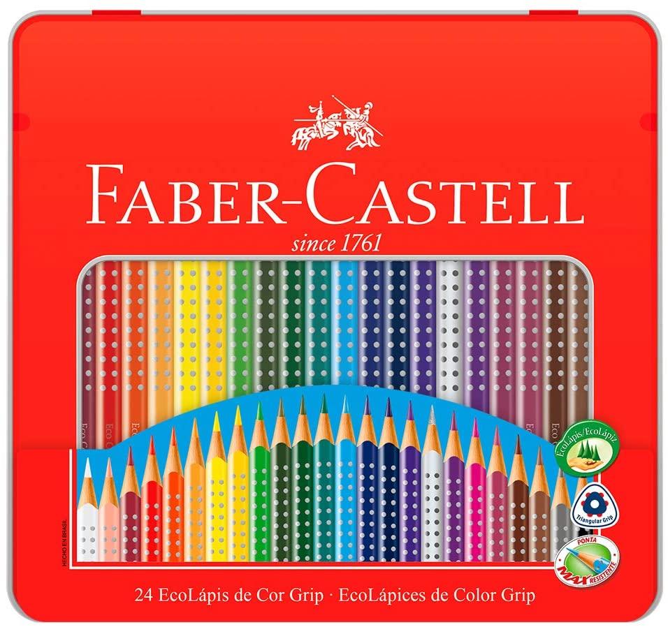 EcoLápis de Cor Grip - Faber-Castell Estojo Lata com 24 Cores