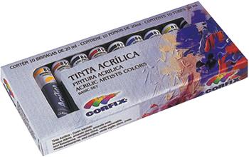 Estojo de Tinta Acrílica Com 10 Bisnagas 20 ml  Corfix