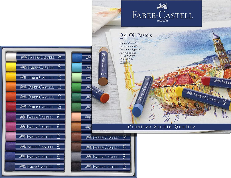 Giz Pastel Oleoso  Creative Studios  Faber-Castell com 24 cores  Ref 127024