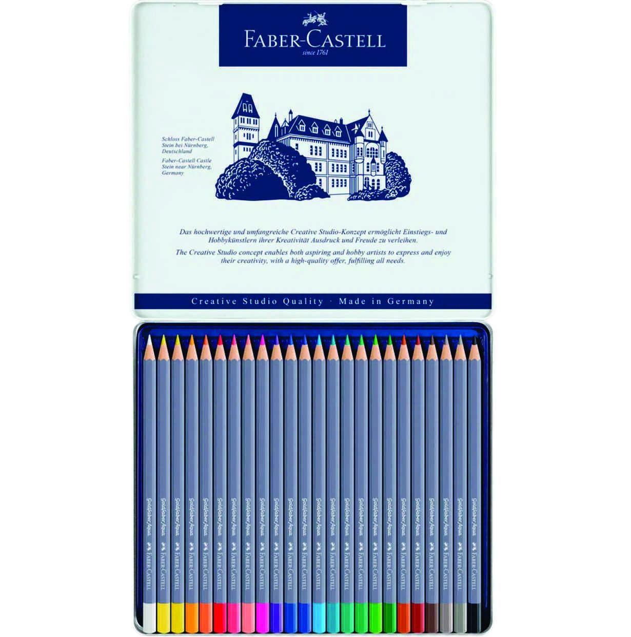 Lápis Aquarelavel Goldfaber Aqua Faber-Castell Estojo Metálico com 24 cores - Ref 114624