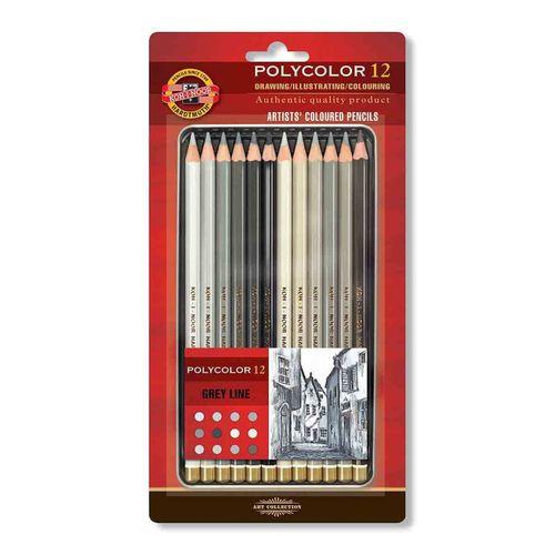 Lápis de Cor Artístico Polycolor 12 Tons de Cinza Koh-I-Noor 3822