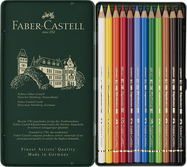 Lápis de Cor Polychromos 12 Cores, Faber-Castell - ref. 110012