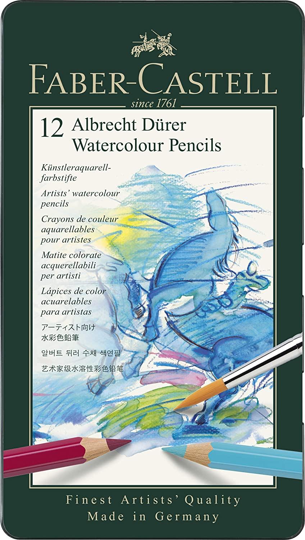 Lápis Faber-Castell Albrecht Durer Aquarelável - Estojo Metálico com 12 Cores - Ref 117512