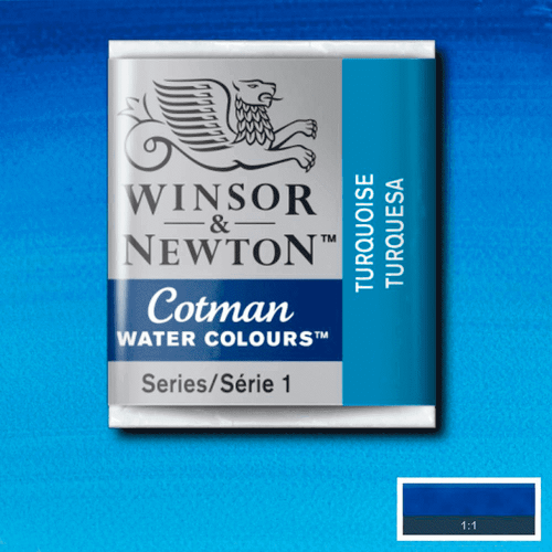 Tinta Aquarela em Pastilha Cotman Winsor & Newton Turquoise 654