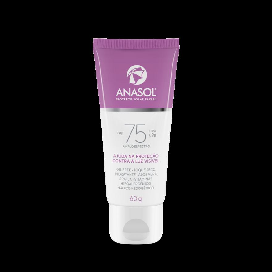 Protetor Solar Facial Hipoalergênico Anasol FPS 75 -  Proteção contra a luz visível - 60g