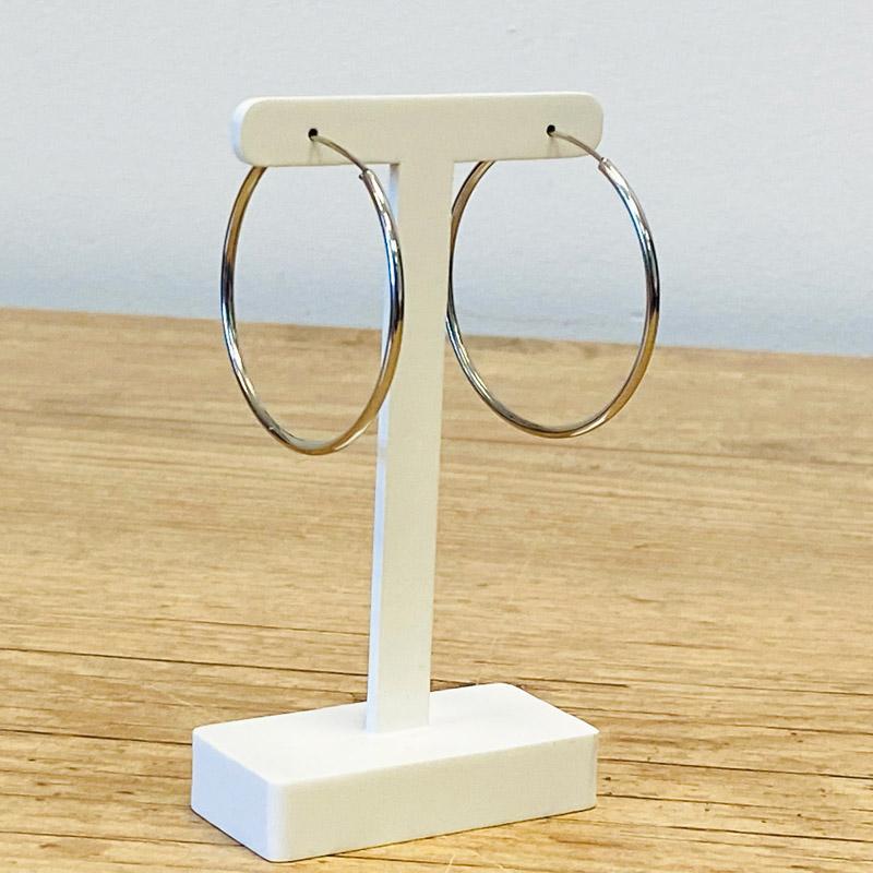 Brinco Argola Prata Diãmetro 5,5 cm espessura 2MM - Aço Cirúrgico 316L - Antialérgico