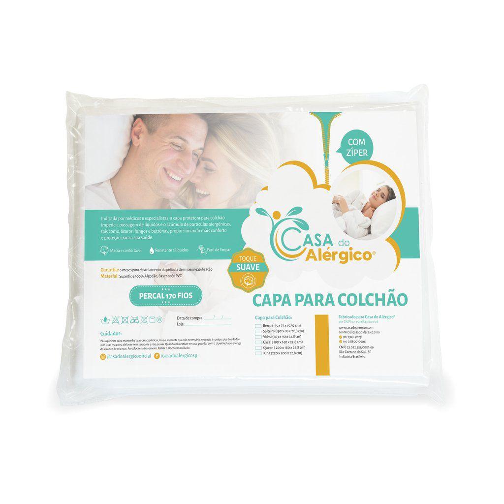 Capa para Colchão Antiácaro Impermeável Solteiro King - Casa do Alérgico Toque Suave - Algodão Percal 170 Fios com PVC