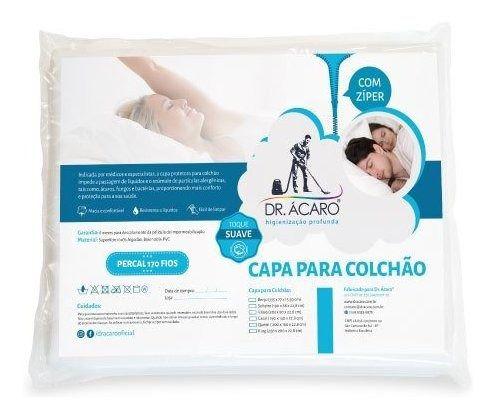 Capa para Colchão Antiácaro Impermeável Solteiro King - Dr. Ácaro Toque Suave - Algodão Percal 170 Fios com PVC