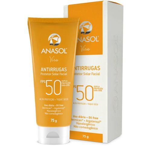 Protetor Solar Facial Antirrugas Hipoalergênico FPS 50 Anasol