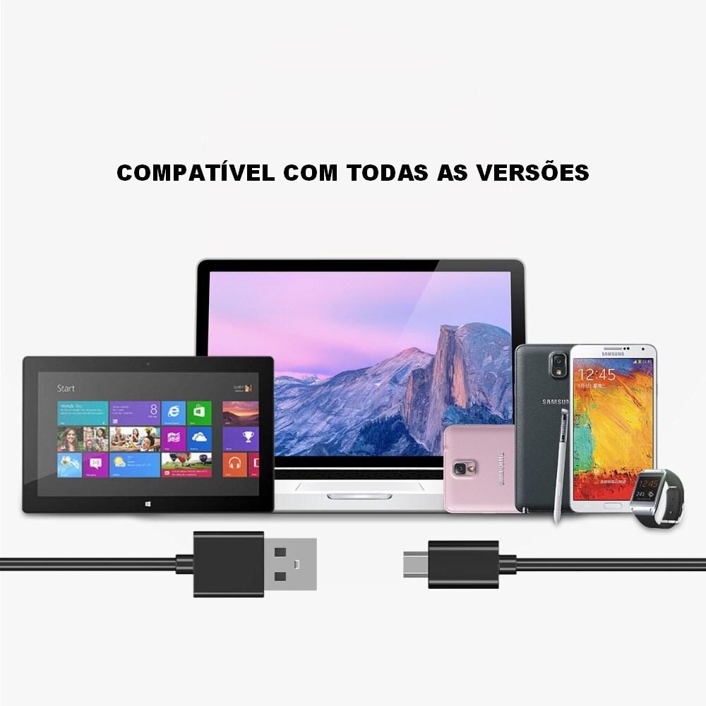 Cabo Micro USB para Samsung J4, J5, J6, J7, J8, S6 e S7