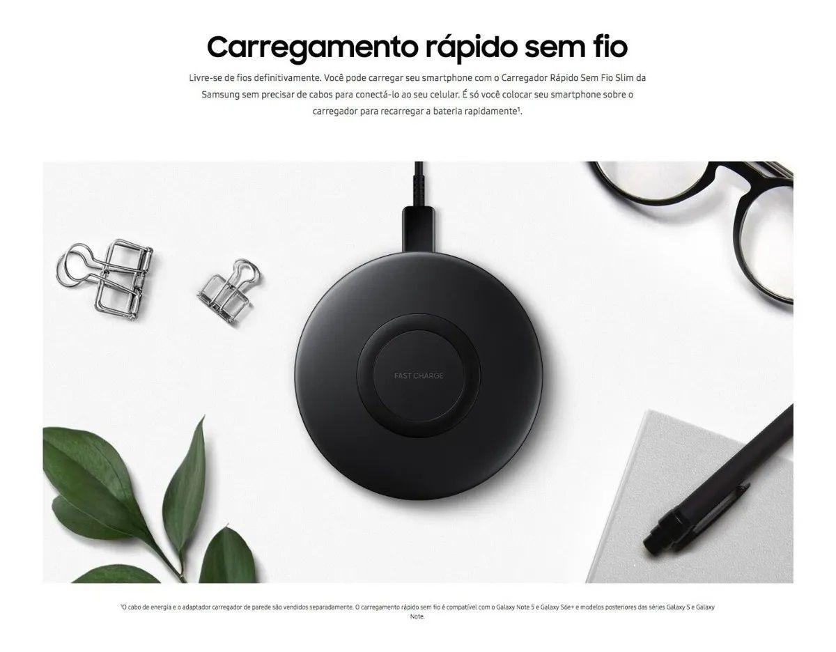 Carregador Sem Fio Samsung EP-P1100BBPGBR Slim Ultra-Rápido Original