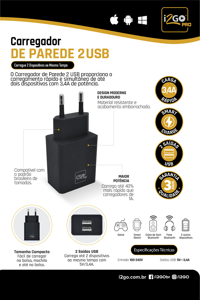 Carregador Turbo i2GO 2 USB 3.4 Amp