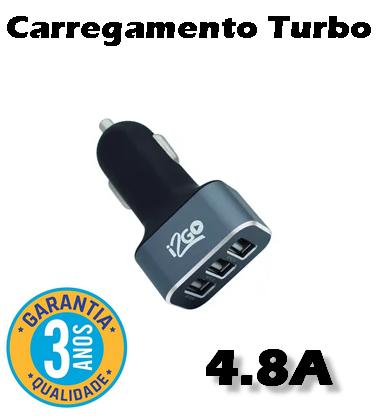 Carregador Veicular i2GO Turbo 3 USB 4.8 Amp