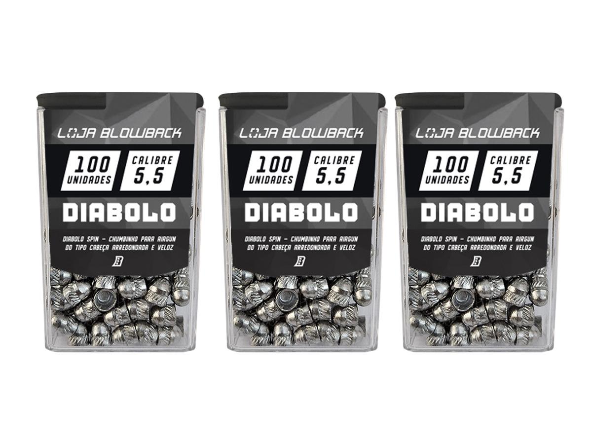 3 Pack de Chumbinho Diabolo 5,5mm Chumbo Paulista P/ Carabinas Pressão