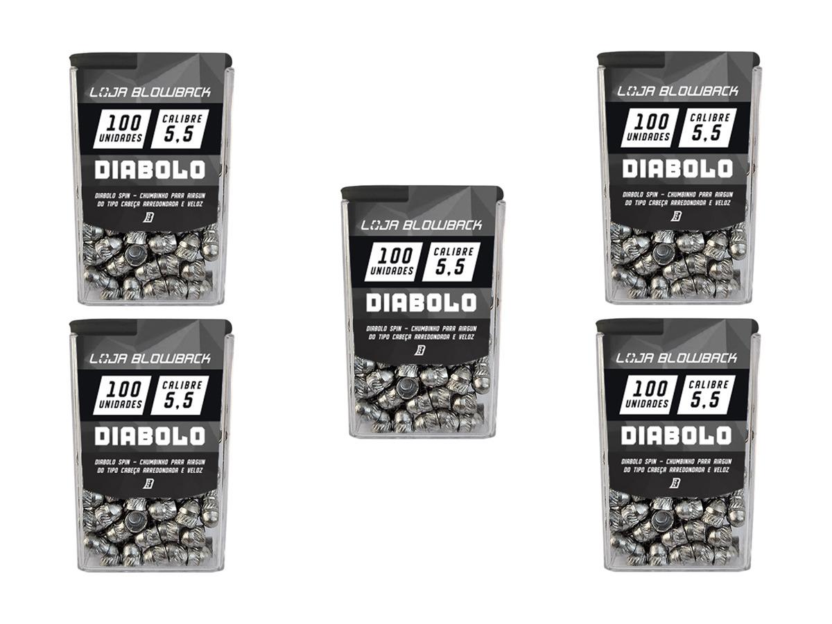 5 Pack de Chumbinho Diabolo 5,5mm Chumbo Paulista P/ Carabinas Pressão