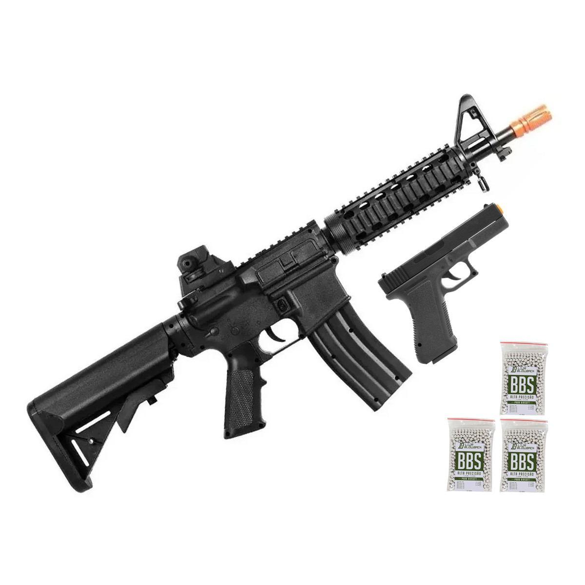 Airsoft Kit Pistola E Rifle M4a1 E Glock V307 Mola 6mm Kit 3