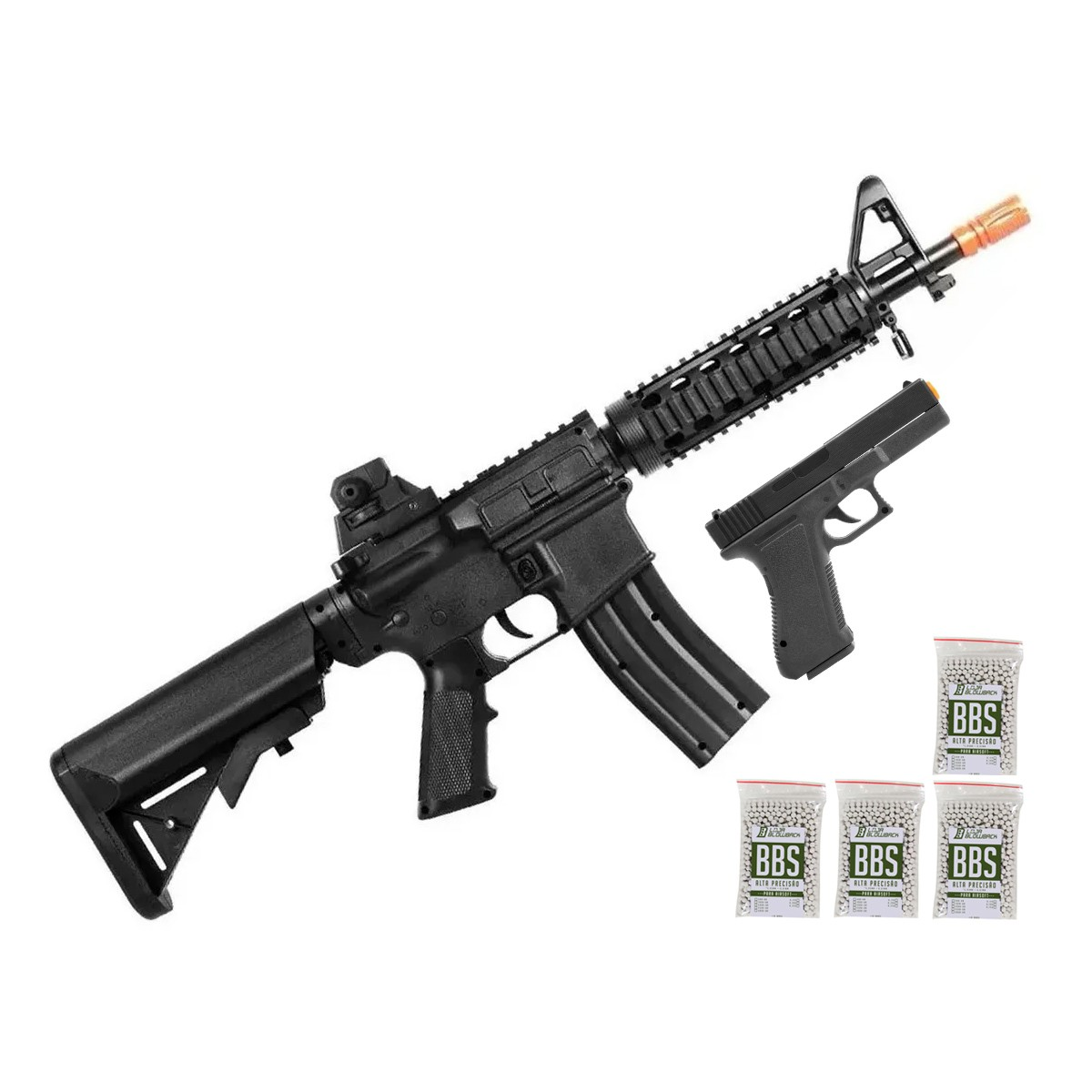 Airsoft Kit Pistola E Rifle M4a1 E Glock V307 Mola 6mm Kit 4