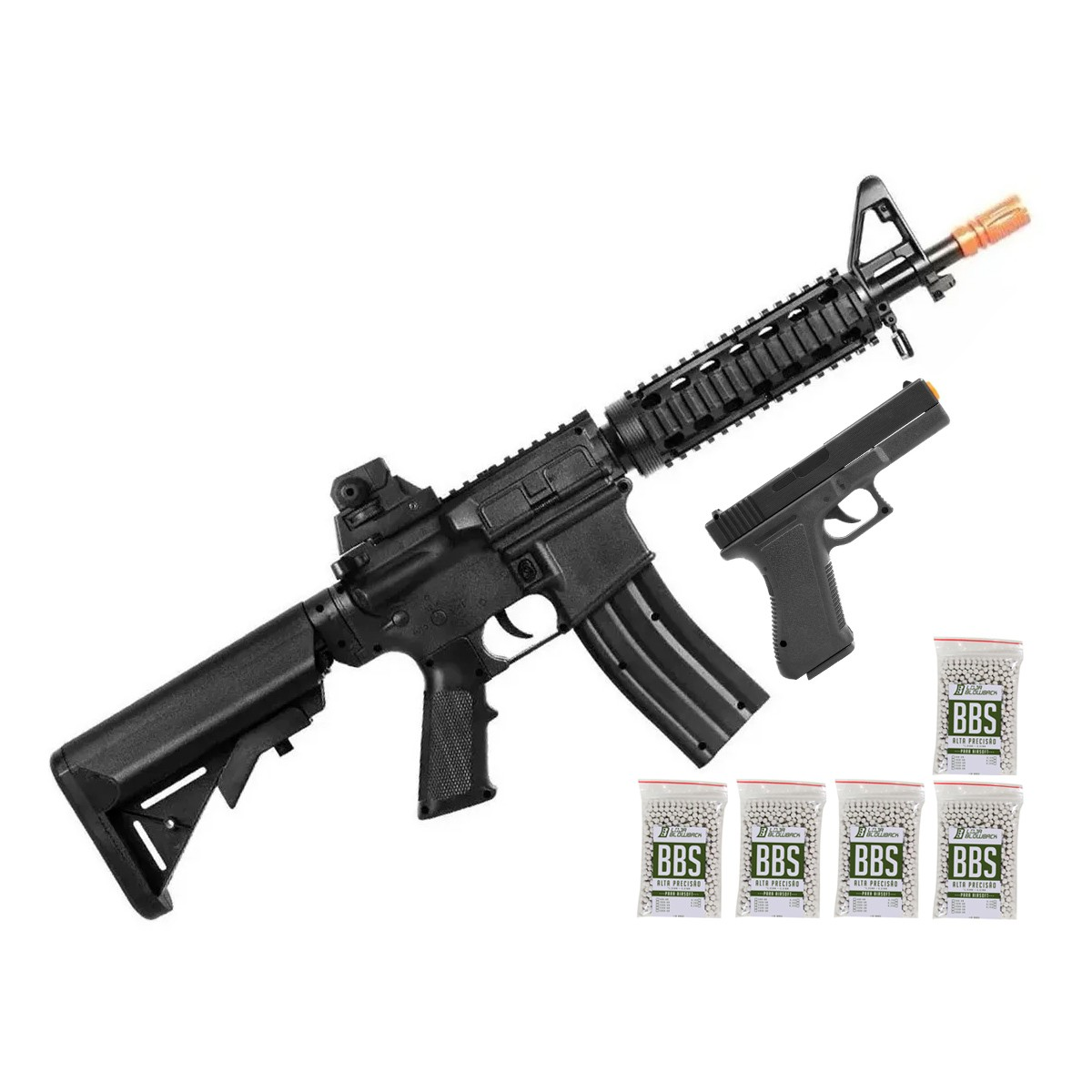 Airsoft Kit Pistola E Rifle M4a1 E Glock V307 Mola 6mm Kit 5