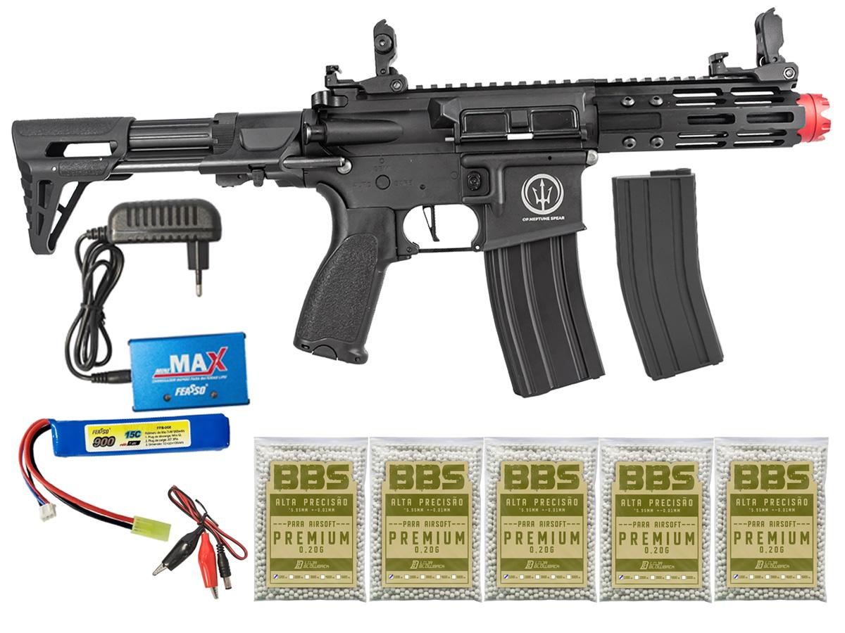 Rifle de Airsoft AEG M4 AR15 Neptune PDW + 5000 Bbs 0,20g loja Blowback