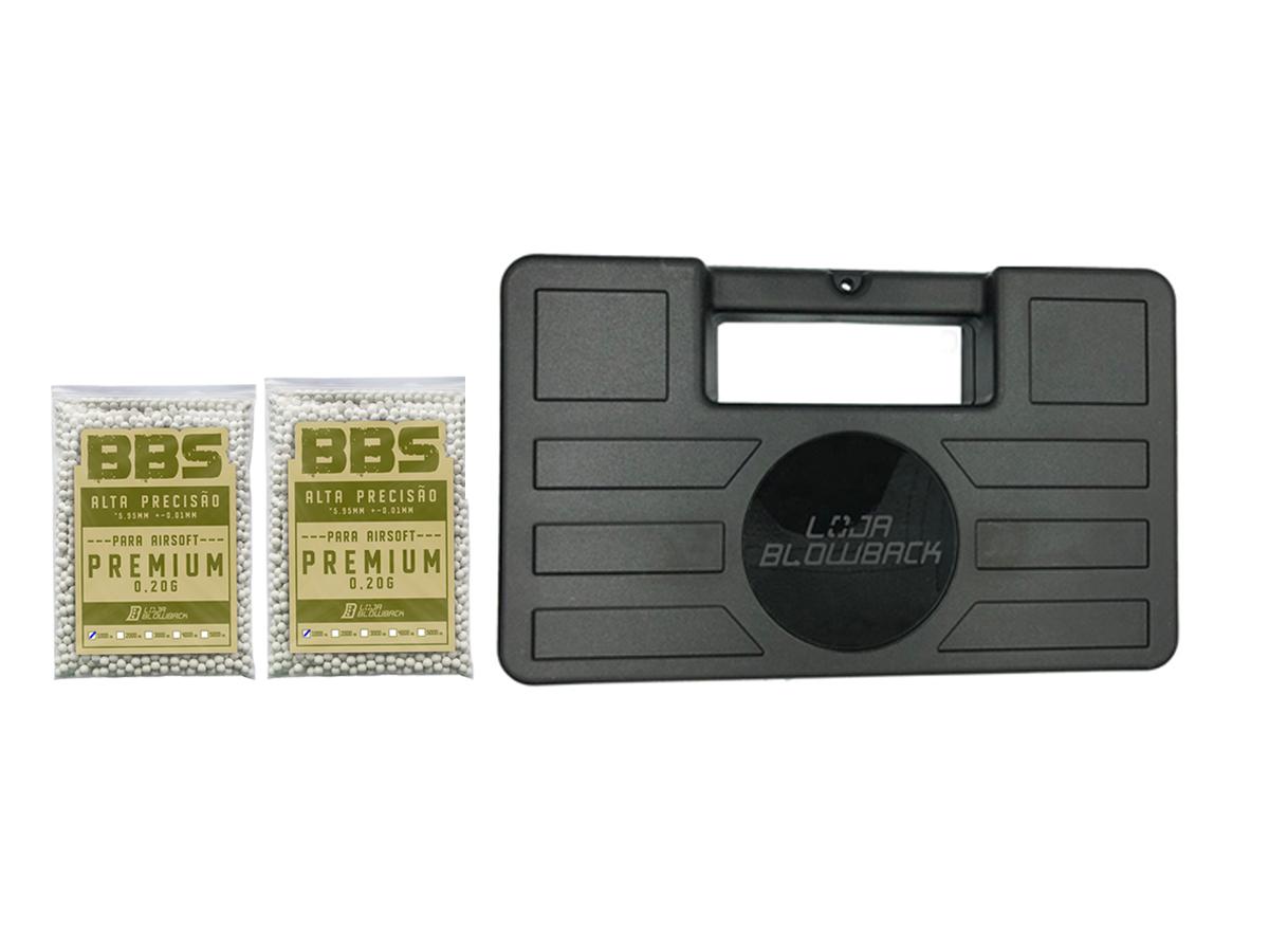 BBs 0,20g Airsoft 2000 un Bolinha Munição + Maleta Blowback