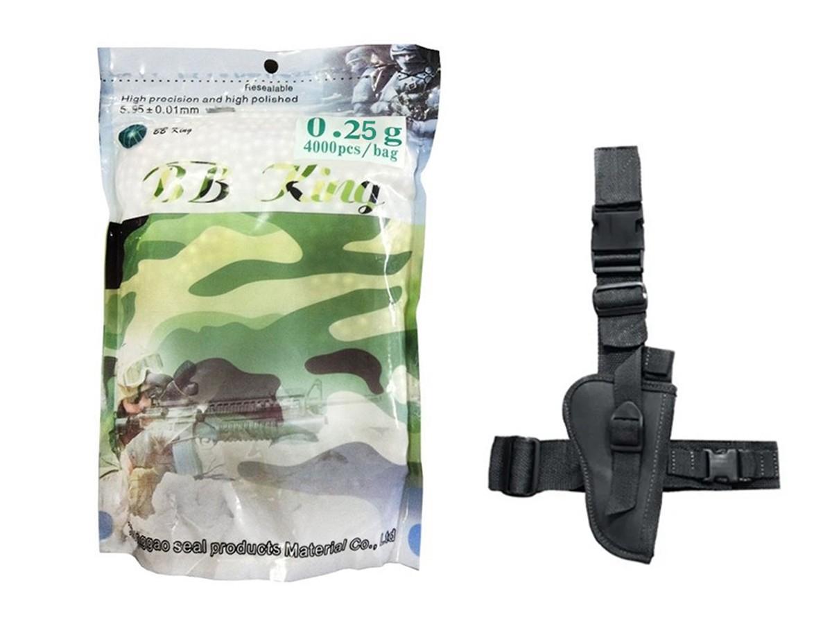 Bbs Esferas Bb King 0,25g Branca 4000un 6mm + Coldre Robocop