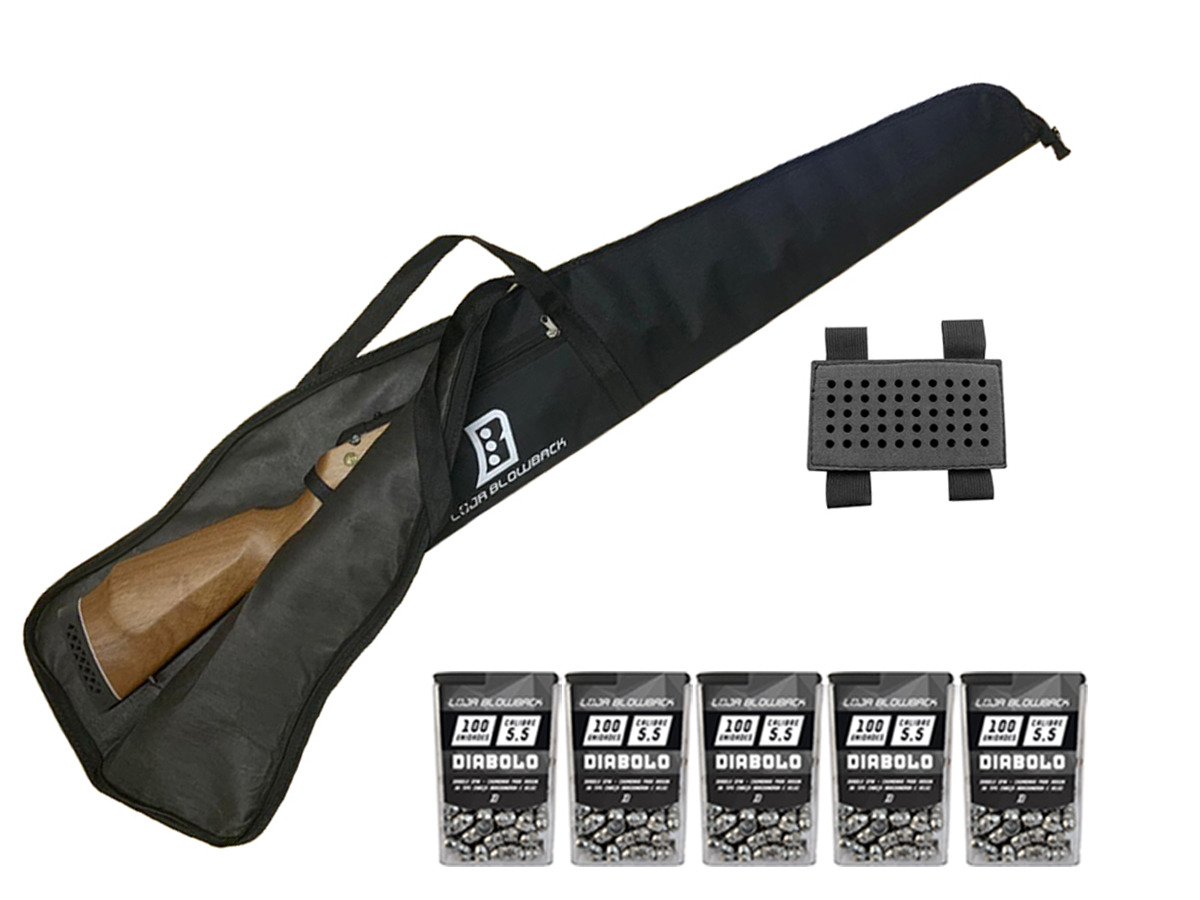 Capa Case Luxo Blowback P/Carabina Pressão C/ Proteção + 5 Pack de chumbinho + Porta chumbinho