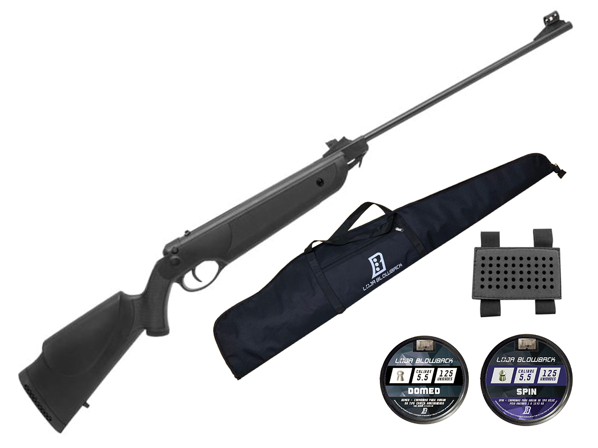 Carabina Espingarda De Pressão Rossi Nova Dione 5,5mm Kit 30 - 5.5 mm - Preto