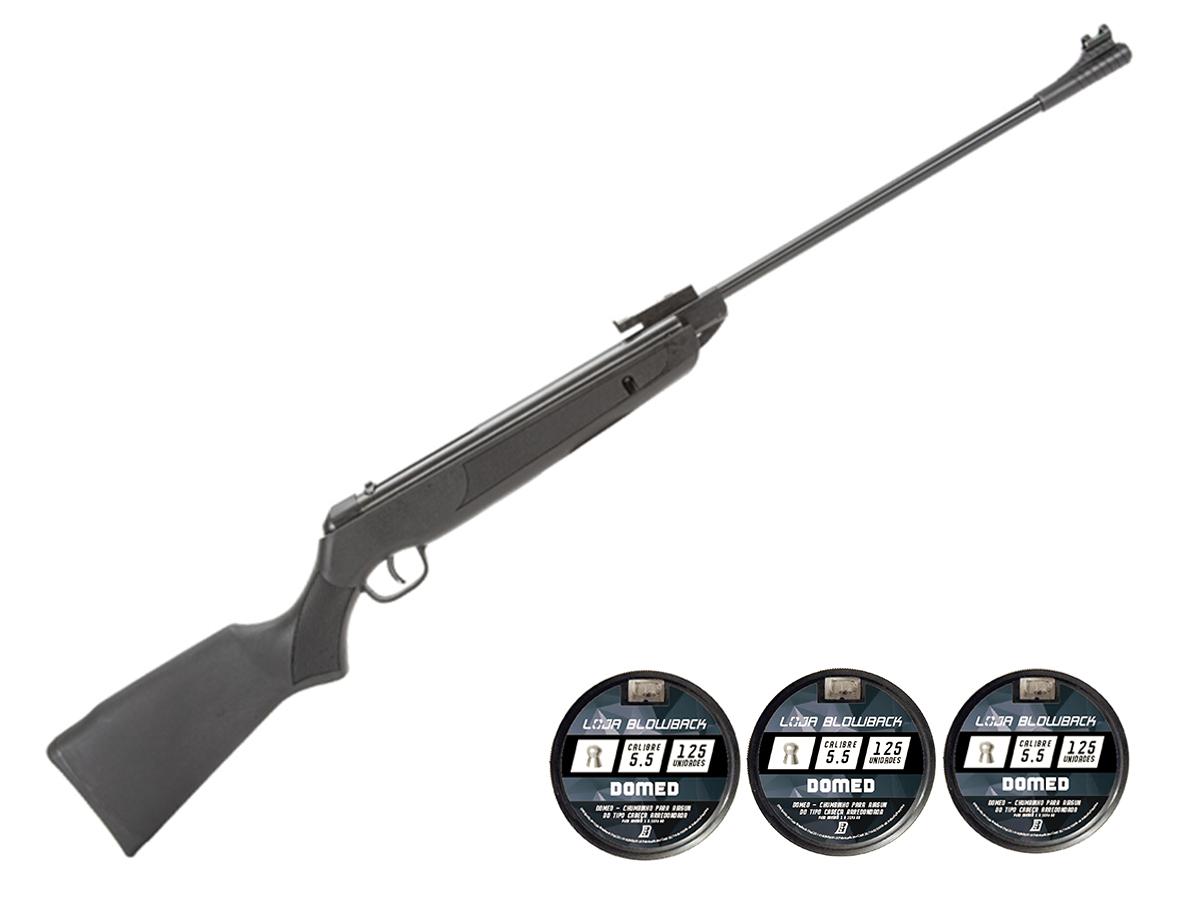 Carabina de Pressão Rossi Sport UP 5.5mm + 3 pack de Chumbinho Domed 5,5mm loja Blowback - 5.5 mm - Preto