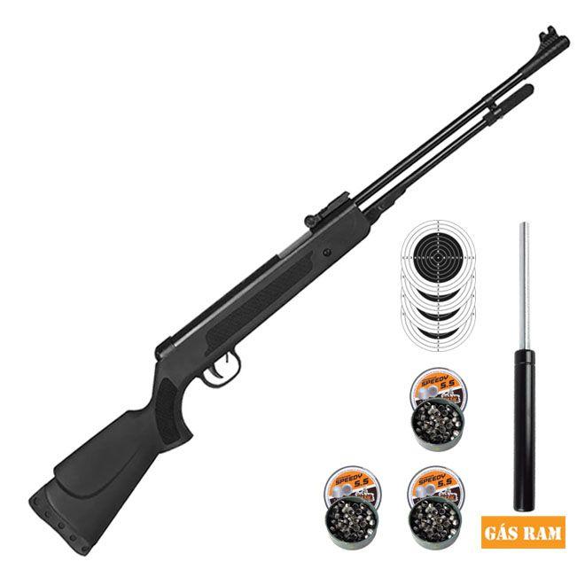 Carabina Pressão Gás Ram Fixxar Nitro Black 5.5mm + 3 Pack de chumbinho