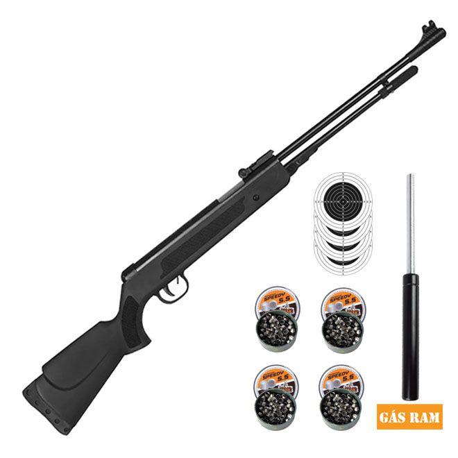 Carabina Pressão Gás Ram Fixxar Nitro Black 5.5mm + 4 Pack de chumbinho