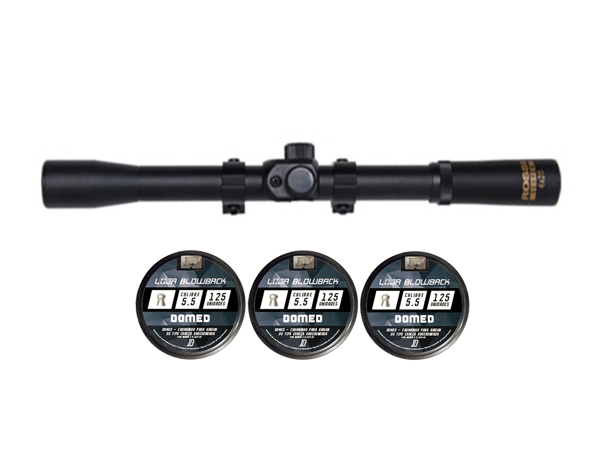 Chumbinho 5.5mm Domed Carabina Pressão 375un + Luneta 4x20