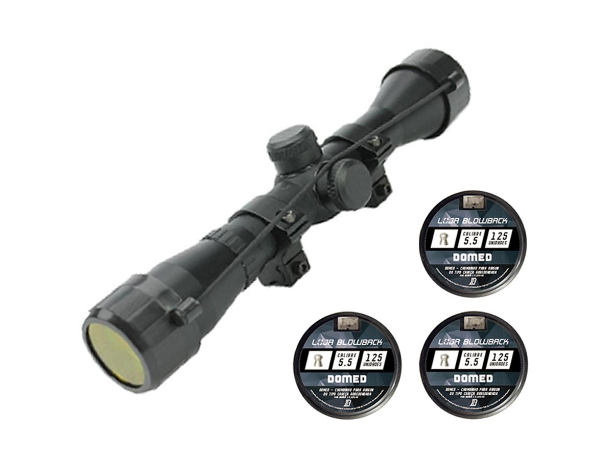 Chumbinho 5.5mm Domed P/ Carabina 375un + Luneta 4x32 Rossi