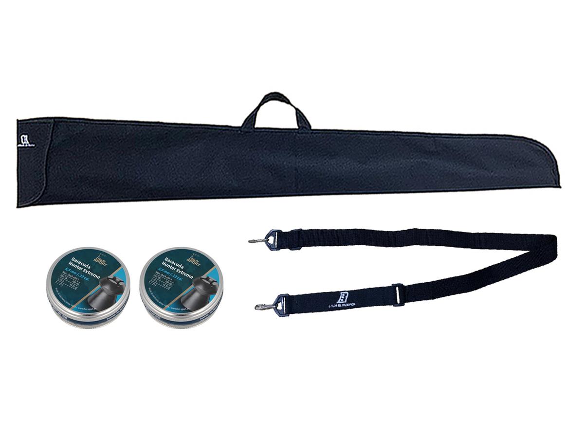 Chumbinho 5.5mm H&N Baracuda Hunter Extreme Carabina 400un + Bandoleira duas pontas + Capa