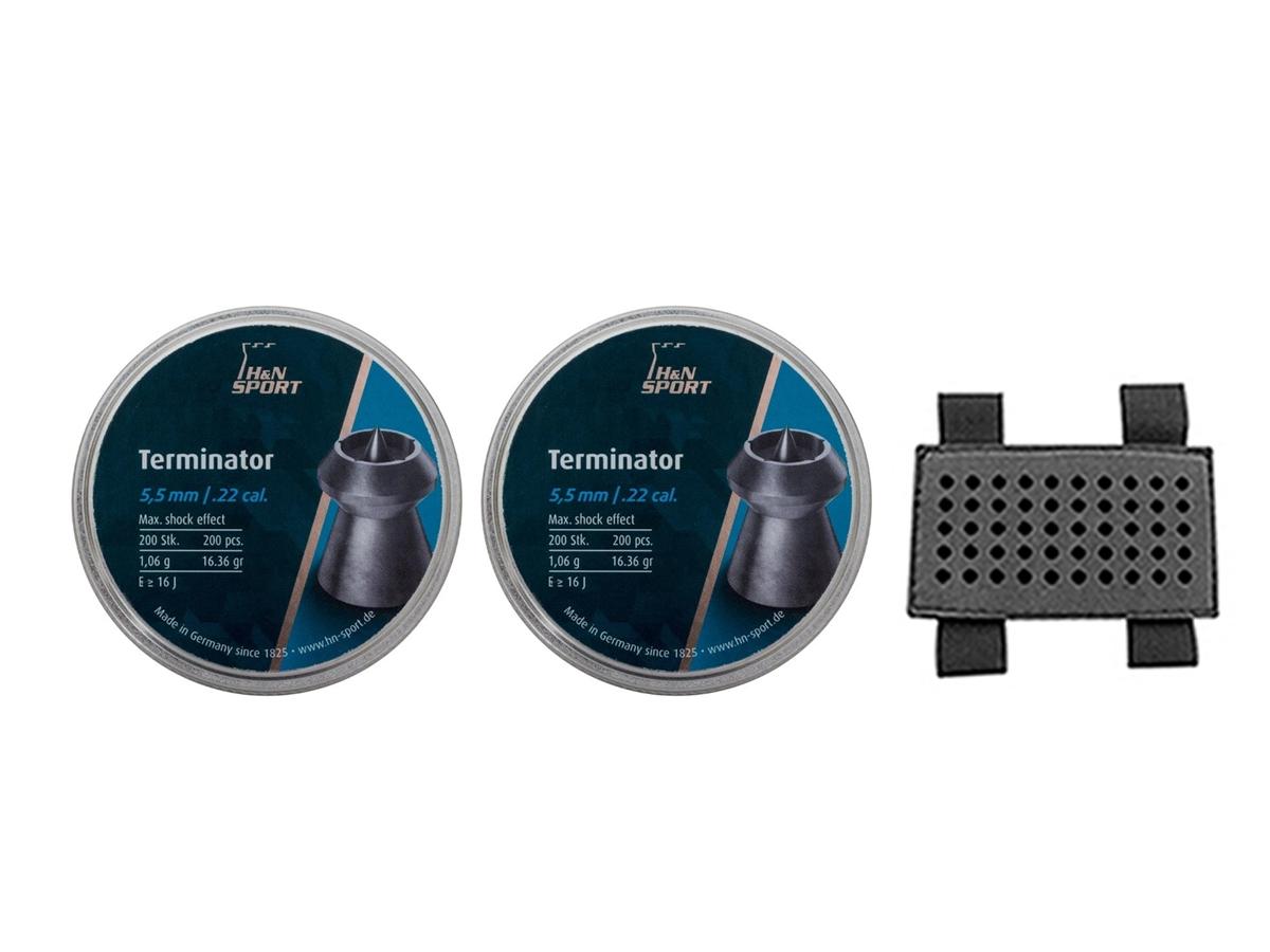 Chumbinho 5.5mm H&N Terminator Carabina Airgun 400un Kit 5