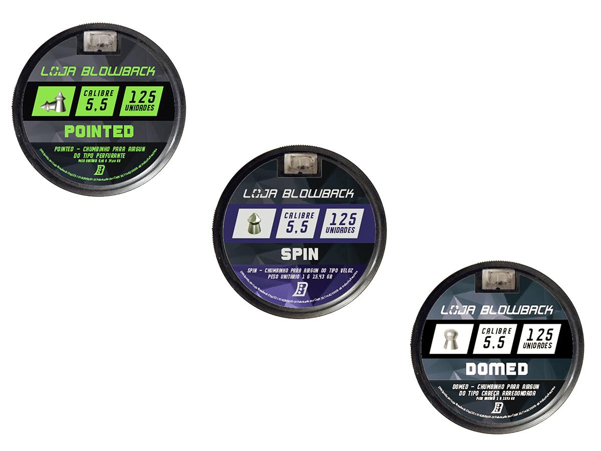 Chumbinho 5,5mm Kit Mix Variados P/ Carabina Pressão K2