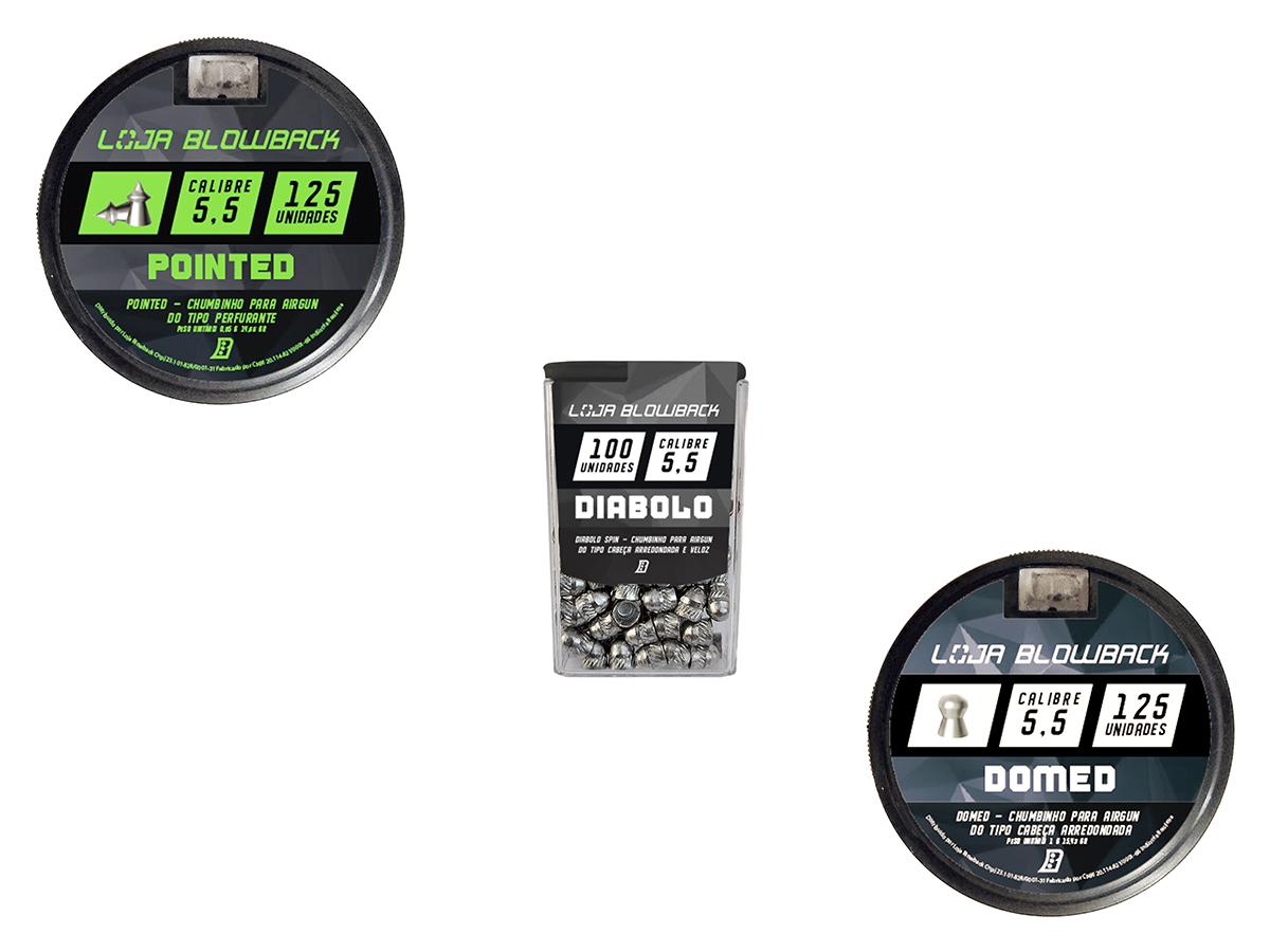 Chumbinho 5,5mm Kit Mix Variados P/ Carabina Pressão K3