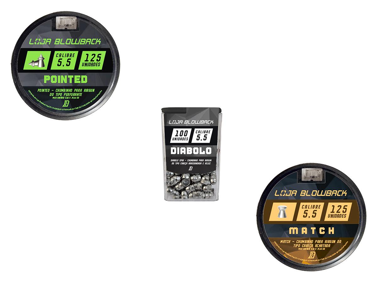 Chumbinho 5,5mm Kit Mix Variados P/ Carabina Pressão K5