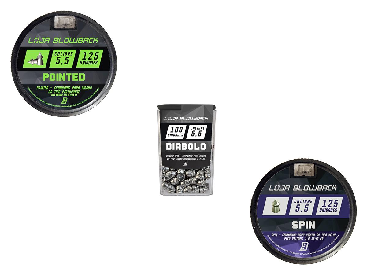 Chumbinho 5,5mm Kit Mix Variados P/ Carabina Pressão K6